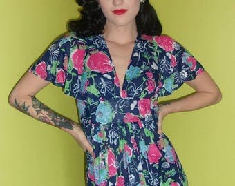 Vintage Navy Blue and Pink Floral 1970s does 1930s Polyester Jersey Maxi Dress Spring Empire Waist