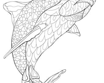 Shark coloring book | Etsy