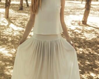 Off white wedding skirt, Off white tulle bridal skirt, Off white wedding tulle skirt, Wedding skirt separates, Clematis offwhite skirt
