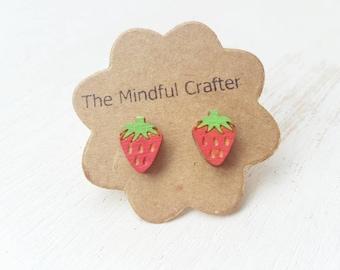 Strawberry fruit earrings red strawberry  jewellery. Fruit jewellery fruit earrings. Miniature food earrings. Kitsch Wimbledon jewellery