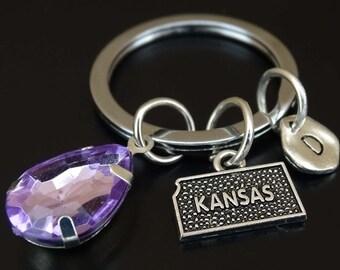 Kansas Keychain, Kansas Key Chain, Kansas Charm, Kansas Pendant, Kansas State Keychain, Kansas State Key Chain, Kansas Map, Kansas Gifts