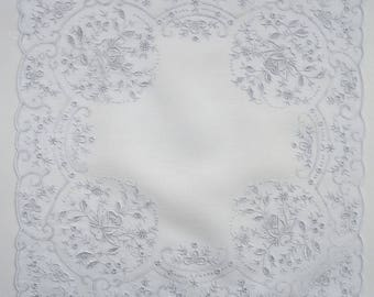 Great wedding hankie hand embroidered all over pristine