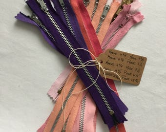 Nice Lot of 10 Colorful Vintage Metal Zippers for sewing or general crafting FaLcOn, Queen, ACME, CLIX, YKK, LaMaR, Export, ..