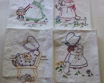Hand Embroidered Tea Towels - Embroidered Tea Towels - Set of 4 - Girl & Her Kitten