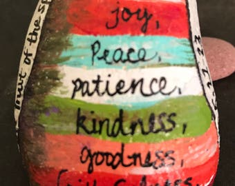The Fruit Of the Spirit Painted Rock, Paperweight & Collectible