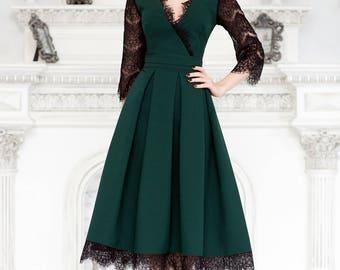 Green dress, lace summer dress with V neck, Green dress, summer dress short sleeve, elegant dress, wedding dress, summer midi dress, gown