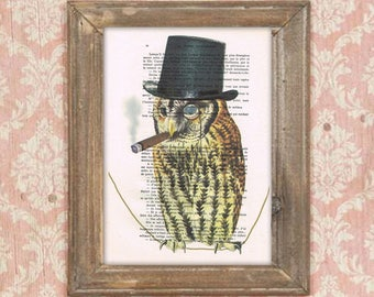 Owl illustration, owl poster, clever owl, owl poster, smaking owl, anniversary print, human animal art, human bird