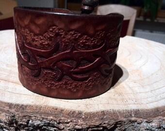 Leather Bracelet, mens, Brown, handmade, and stippled