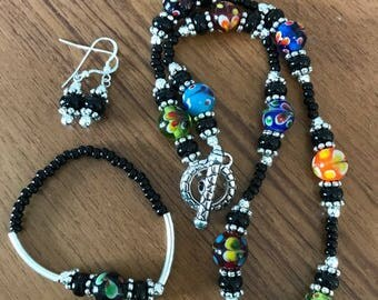 Multi Colored Glass Bead Jewelry Set