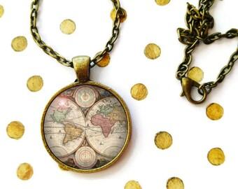 Antique World Map Necklace, Renaissance Map Art, Vintage Map Jewelry, World Pendant, Globe Necklace, Travel Globetrotter, Compass Charm