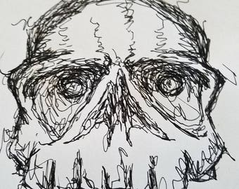 skull drawing. pen,ink,art,illustration