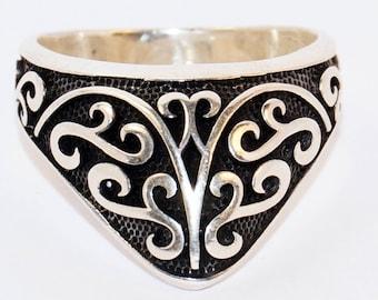 925 Sterling Silver Men's Totally Handmade Archer Ring