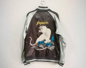 Sukajan Satin Gray Vintage Rare Embroidered Tiger Japanese Souvenir Jacket Sukajan Vintage Bomber Jacket Size Large