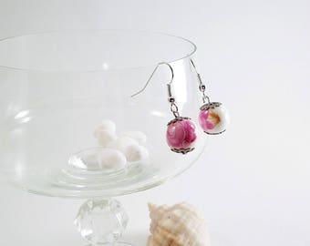 Pink roses drop earrings,  fashion jewelry, Romantic summer earrings, elegant clear earrings, White beads earrings