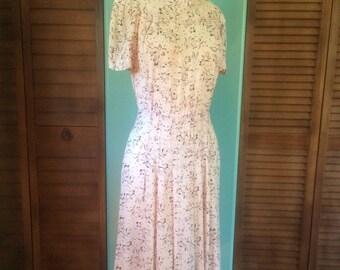 1940s Sheer Floral Print Dress