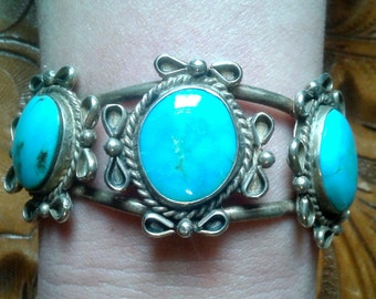 Vintage 1960s Turquoise and Sterling Silver Bracelet