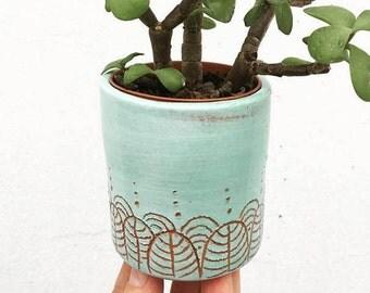 Teal ceramic vase RAJA