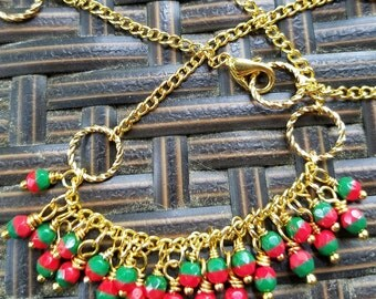 Red, Green, and Gold Necklace