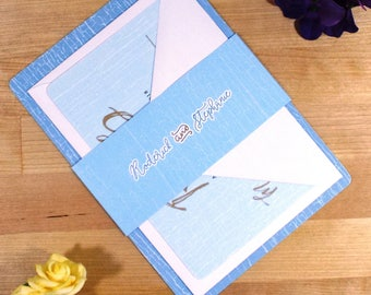 Chic Blue Wedding Invitations - Sample Pack
