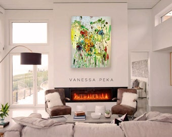 Abstract painting - iridescent silver - contemporary art