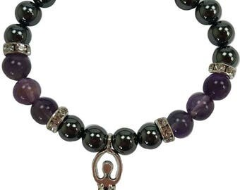 8mm Hematite and Amethyst Stretch Bracelet with Goddess Charm and Crystal Accents