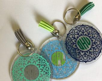 "Monogram Keychain - 2.5"" Circle - Acrylic - Tassel"