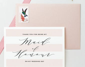 Thank You Maid Of Honor On My Wedding Day Card