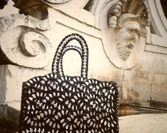 Soda Pop Tab HANDBAG Black Crochet