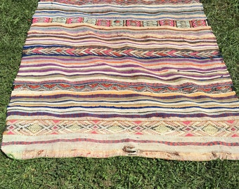 Vintage Moroccan Striped Colorful Rug