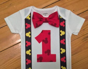 READY TO SHIP Mickey Mouse Birthday Outfit, Mickey Mouse Cake Smash Bodysuit, Mickey Mouse First Birthday Bodysuit, First Birthday for Boy