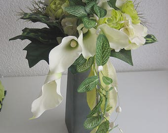 2 tlg.edler.Brautstrauss wedding roses registry - bridal bouquet-& badges