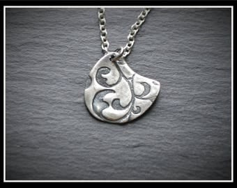 Engraved Almost Circle Pendant - Silver Precious Metal Clay (PMC), Handmade, Necklace - (Product Code: ACM028-17)