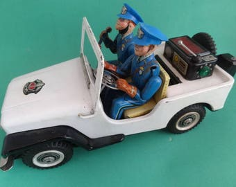 Nomura Japan, Police Patrol Jeep, Battery Operated, Vintage Tin Toy, Dept Jeep No.3