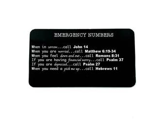 Emergency Numbers, Uplifting Message Gift, Spiritual Guidance, Engraved Wallet Card, Christian Gifts, Gift for Student