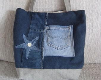 Tote Bag, Unique Bag, Recycled denim Bag, Canvas bag, Jeans Tote, Denim Star Tote,Canvas Tote,Handmade Tote,Handmade purse