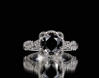 14k White Gold 2.00 ctw Black and White Diamond Engagement Ring