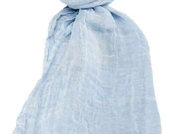 Scarf | Shawl | Wrap | Blueish Scarf | Scarves For Women | Men Scarf | Linen Shawls | Linen Wrap | Natural Linen Scarf | Soft Scarves Online