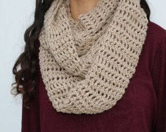 crochet Beige handmade close scarf