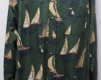 "Rare 90's Vintage ""NAUTICA"" Long-Sleeve Pattern Shirt Sz: MEDIUM (Men's Exclusive)"