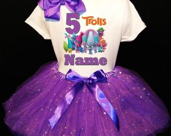 Trolls 5th Fifth 5 Birthday Dress ***With NAME***  Fast Shipping Purple party Shirt & Tutu outfit