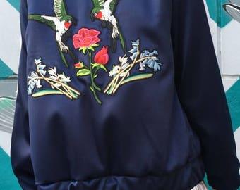 Bomber jacket women blue Ukrainian designer Satin with embroidery birds Satin bomber jacket  Bomber coat Bomber jacket blue