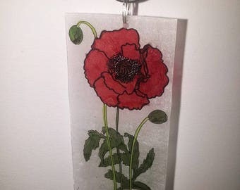 Poppy necklace, pendant made entirely and drawn by hand