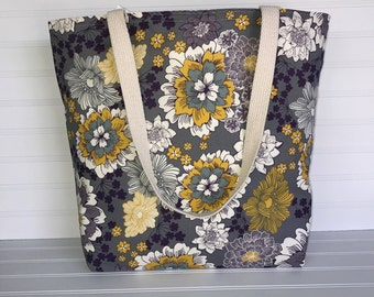 Handmade Everyday Tote | Market Bag |  Purple & Yellow Floral Lightweight Cotton Tote