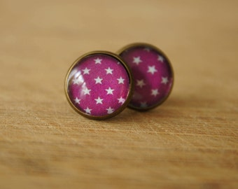 Vintage cabochon earrings 14 mm with stars