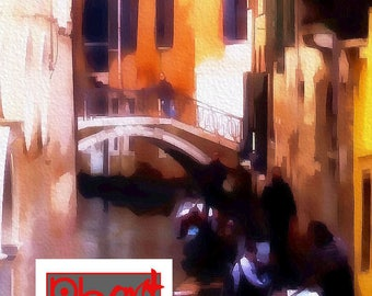 Digital watercolour painting of the canals, Venice, Italy. Artwork to download and print at home.