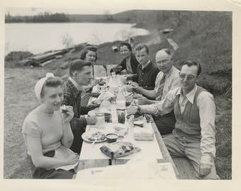 Antique Found Photo of 1950s Family Picnic