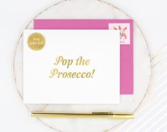 Pop the Prosecco Birthday Card, Gold Foil Prosecco Card, Gold Foil Birthday Card, Prosecco Princess, Congratulations Card, Well Done Card