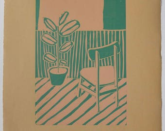 Window View Handmade Print Linocut Hand Pulled Limited Edition