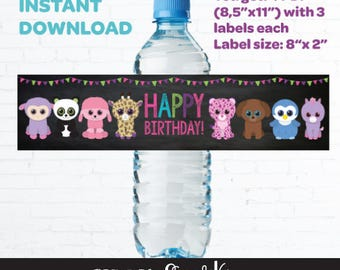 Beanie Boo Water Bottle Labels, Instant download