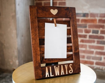 Wood Slat & Gold Foil Clip Photo Frame